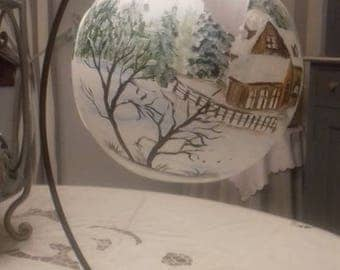 PAINTED CHRISTMAS BALL IS GLASS WITH HOLDER