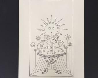 19-Le Soleil, Illustration originale à l'encre noire