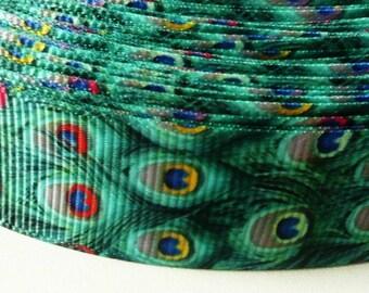 Ribbon width 22mm grosgrain green peacock feathers