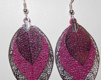 Purple and silver fall leaves earrings