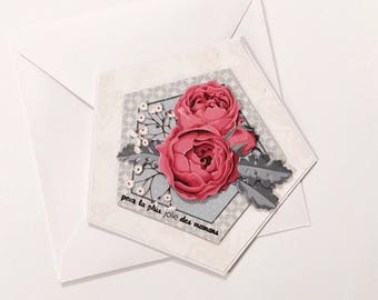 "Day card of the day ""for the prettiest of moms"" - 3D Peony Image"