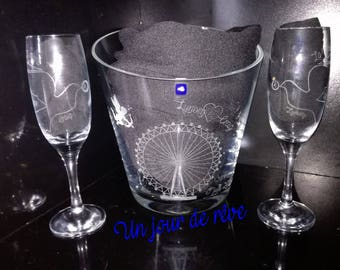 Custom set 1 bucket and 2 etched champagne flutes
