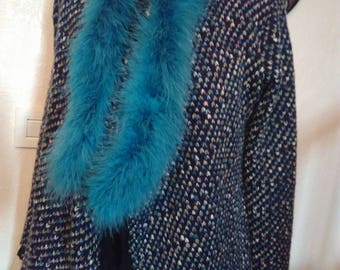Blue Bird feather scarf