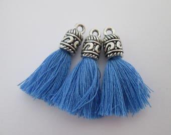lot de 3 pompons calotte 35 x 6 mm coton bleu denim et métal argenté