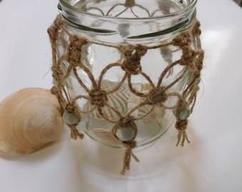 Macrame lantern, bohemian decoration, shell glass, upcycling, rustic decoration, clay beads, Sommerdeko, summer festival