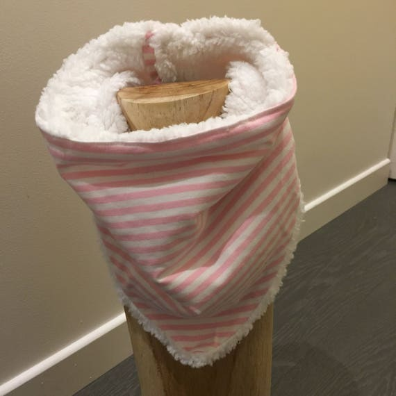 Snood/striped pink Choker white scarf