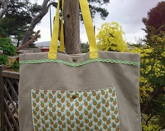 Cotton canvas beach bag pattern thick pineapple, border lace