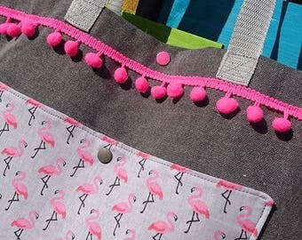Thick cotton canvas beach bag pattern background Flamingo gray, Pompom trim