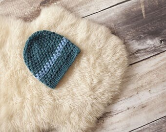 Blue knit wool hat by hand