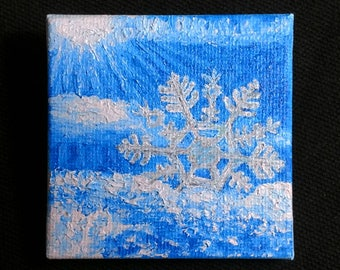 """Oil Painting Real, Wall Art, Canvas Art, Original Hand Painted """"Snowflake in the Sunlight"""""""