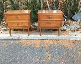 Pair - Mid Century Modern Walnut Nightstands End Tables by Dixie