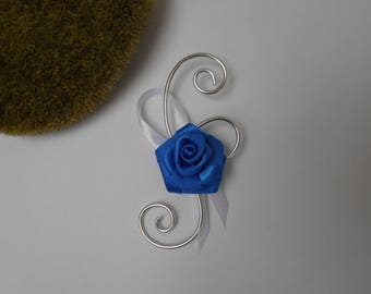 Boutonniere, brooch for wedding - Navy Blue and white