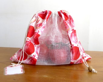 Bulk zero waste to produce bag printed pomegranate-Zero Waste Shopping Bag for Bulk Food Pomegranate fruit pattern