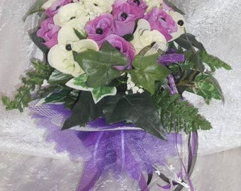 Bouquet of groom or bridesmaids color purple and white