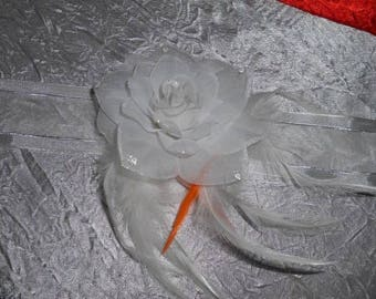 Orange white ribbon white flower and feather necklace