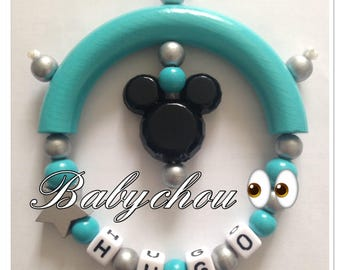 Rattle with mickey wooden beads