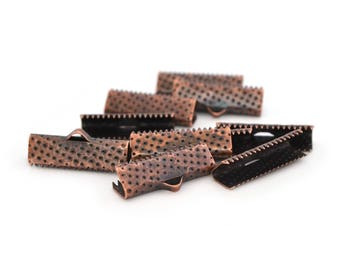 10 tips clips 20 mm copper color ribbons