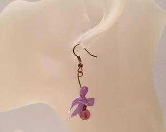Pink Pearl bow earrings