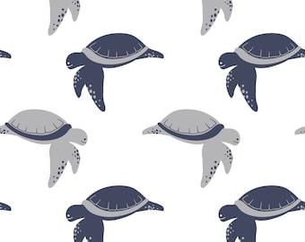 Cotton Jersey white marine turtles