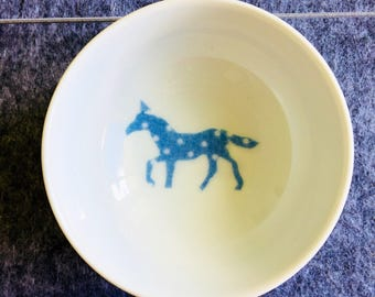 Spotty blue horse circular trinket bowl, handmade decoupage pony, retro fabric design, jewellery storage
