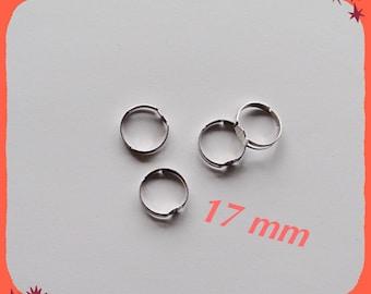 ring adjustable 17 mm silver metal
