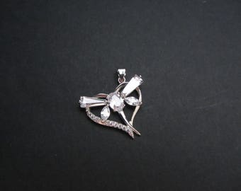 small pendant, sterling silver pendant,dragonfly pendant,dragonfly,dragonfly jewelry,dragonfly pendant silver, heart pendant