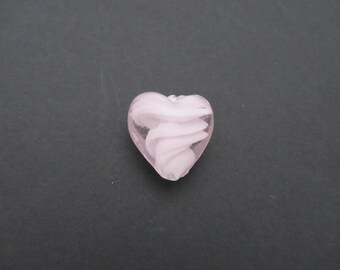 Pink heart shaped glass Lampwork bead