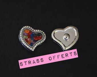 Cabochon snap Charm Floating Locket heart + rhinestones for jewelry