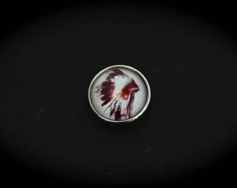 Cabochon pressure fancy 18mm for jewelry - Native American: headdress