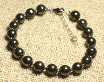 Bracelet 925 sterling silver and semi precious - gold Pyrite 8mm