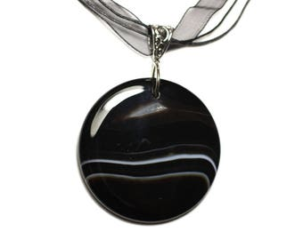 N6 - Necklace - black and white Agate stone pendant 50mm round