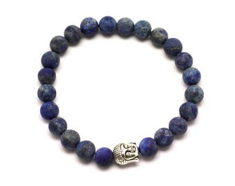 Gemstone - Lapis Lazuli matte frosted 8mm and Buddha bracelet