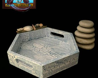 Tray wood Crackle effect and decor Island tray made with Driftwood