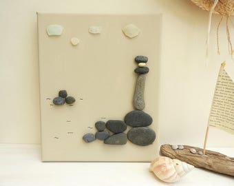 Seaside Lighthouse 3D canvas - Pebble
