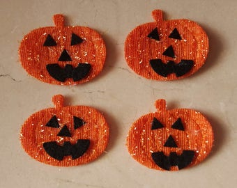4 pumpkins fabric for sewing or craft Halloween 5.7 x 4.8 cm