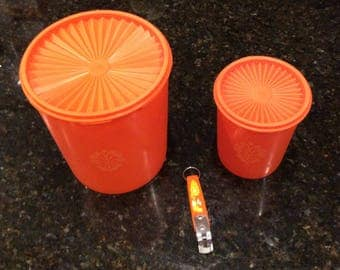 70s Orange Tupperware Canisters, Orange Tupperware Containers, Orange Mod, Orange Tupperware, orange mod Ekco can opener,floral can opener