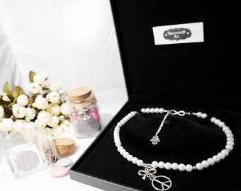 "Necklace cream beads silver color ""Dragon"""