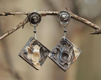Mingled land and antique Silver earrings