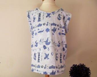 Jersey boy tee-shirt cotton short sleeve tank top with patterns