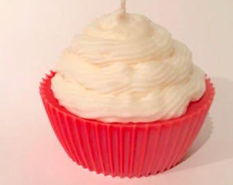 Jumbo Red Apple Cupcake Candle