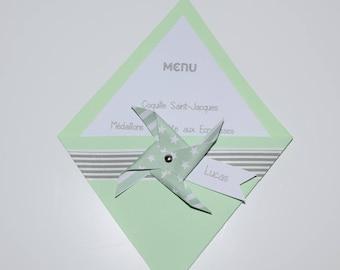 Menu and mark up christening, birthday, communion, wedding - windmill water green and gray
