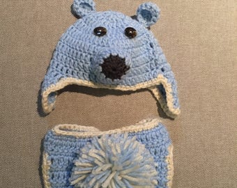 Keepsake baby bear hat with diaper cover, blue