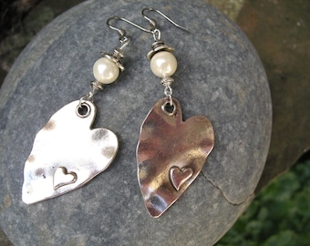 Vintage hearts and cultured pearl earrings