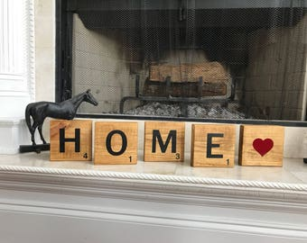 Scrabble Blocks,Scrabble letters,Home Decor,Family name,Love,Home,Wood Letters,Signs,Living room,New House gift,Married,Wedding gift,squares