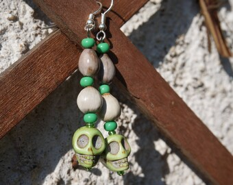 earrings with tropical seeds, and seed beads