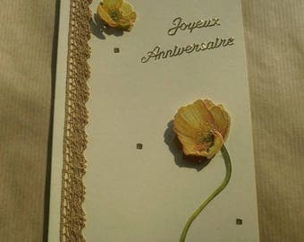 Birthday greeting card Ecru 10.5 x 15 cm + matching envelope