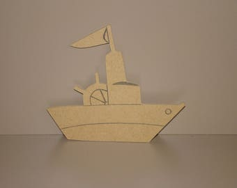 Support blank fishing boat painting 13 cm x 12 cm