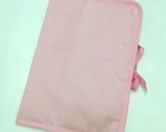 Health Book personalize flocking, applique etc. Pink color fabric outline choice.