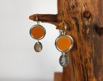 Earrings dangle earrings 925 sterling silver and leather orange