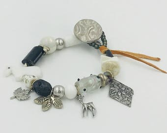 Walk In The Meadow Talisman.  Bracelet Black White with Pewter Charms